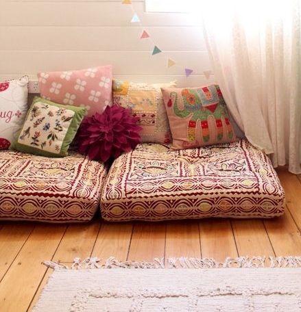 Bohemian floor cushion sofa | Floor seating living room, Cushions .