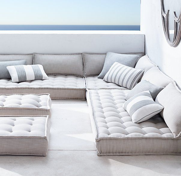 Restoration Hardware - Tufted French Floor Cushions | Floor couch .