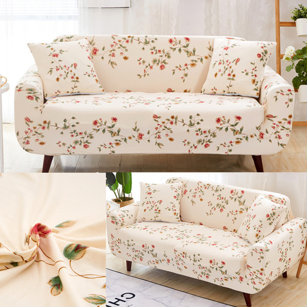 Buy Home Decor Beige Floral Super Elatic Stretch Sofas Couch Chair .