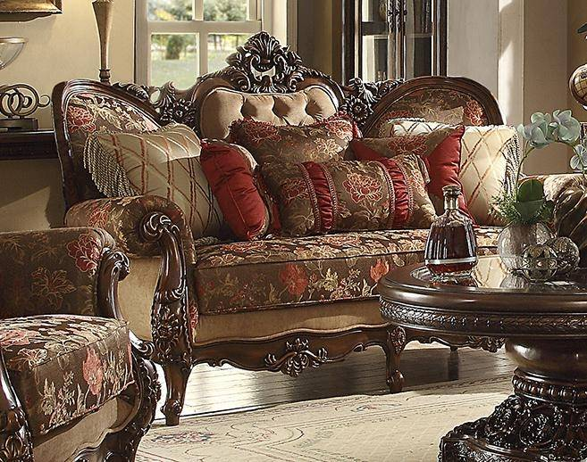 Homey Design HD-39 Victorian Mufti Floral Print Sofa Loveseat .