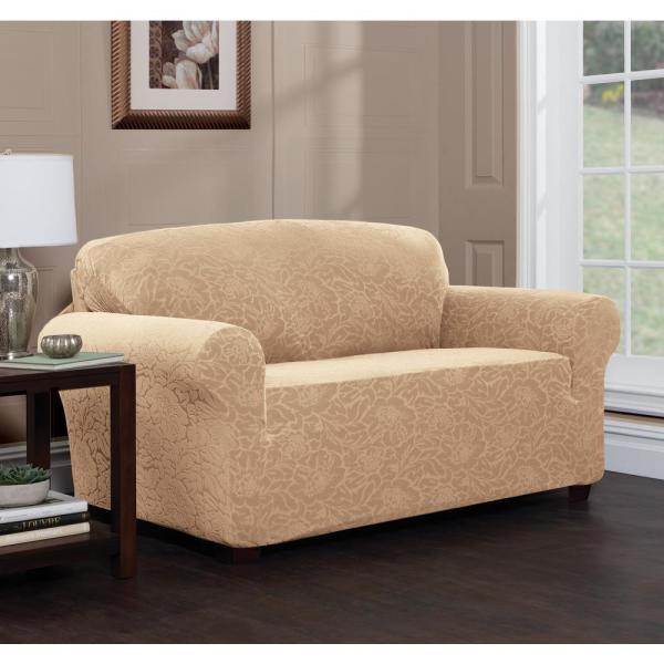 Stretch Sensations Stretch Floral Sofa Slipcover-9587SOFSAND - The .