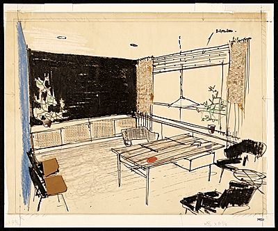 Citation: Sketch of Hans Knoll's office, 1950. Florence Knoll .