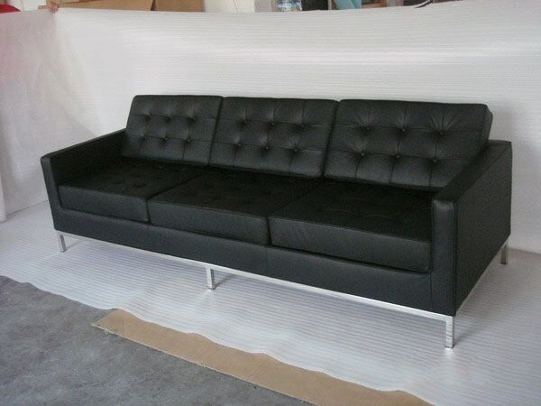 Florence Knoll Style Sofa 3 Seat, Black Aniline Leather for sale .
