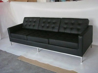 FLORENCE KNOLL Style SOFA Black Premium Leather Mid-Century .