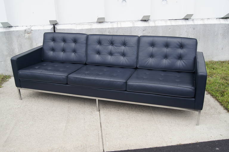 Deep Blue Leather Sofa by Florence Knoll at 1stDi