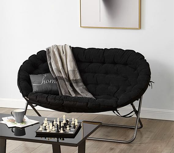 Papasan Dorm Sofa - Black- Dorm Room Furniture Dorm Chair For T