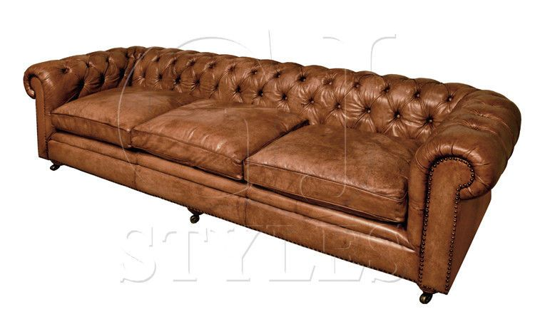 AWESOME CHESTERFIELD FULL GRAIN BUFFALO LEATHER LARGE SOFA,110'' X .