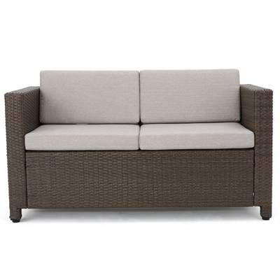 Furst Patio Sofa with Cushions | Outdoor loveseat, Rattan loveseat .