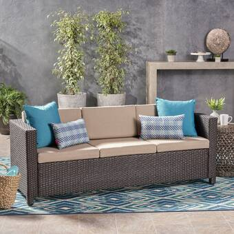 Wade Logan Furst Outdoor Patio Sofa with Cushions & Reviews | Wayfa