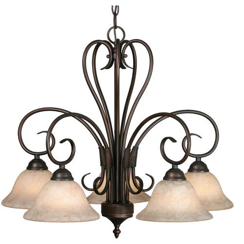 Gaines 5 - Light Shaded Classic Chandelier | Golden lighting .