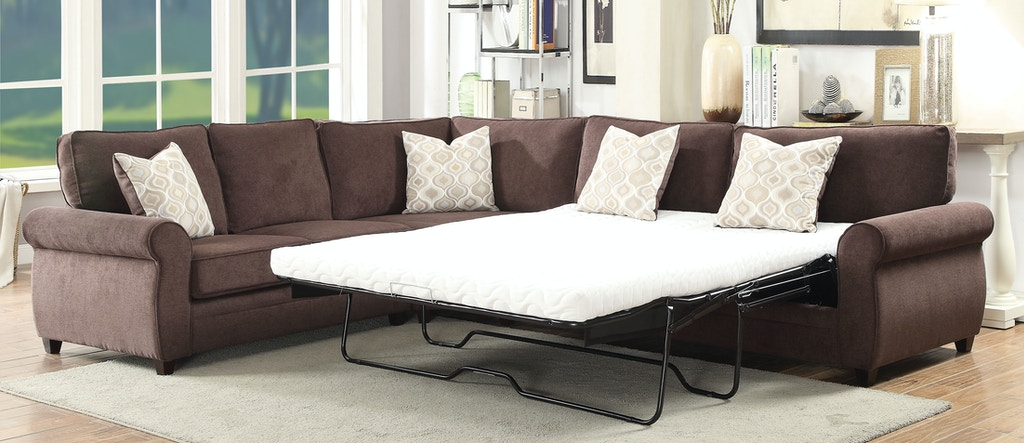 Acme Furniture Living Room Randolph Sectional Sofa with Sleeper .