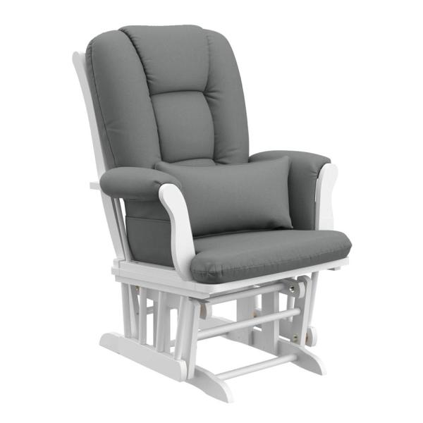 Storkcraft White with Gray Cushion Tuscany Glider and Ottoman Set .