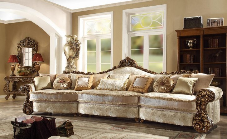 HD-1608 Traditional Sectional Sofa in Gold Fabric by Homey Desi