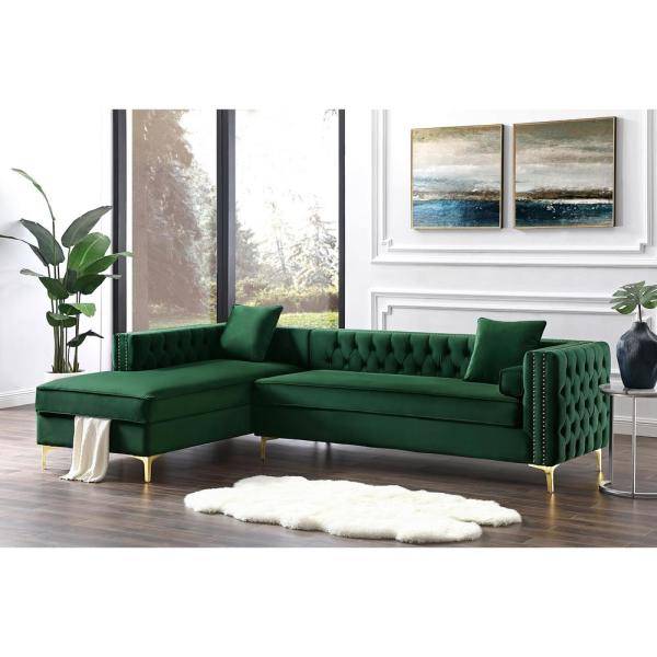 Inspired Home Olivia Hunter Green/Silver/Gold Velvet 4-Seater L .