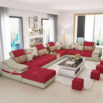Modern High Quality Living Room Furniture Fabric Sectional Sofa .
