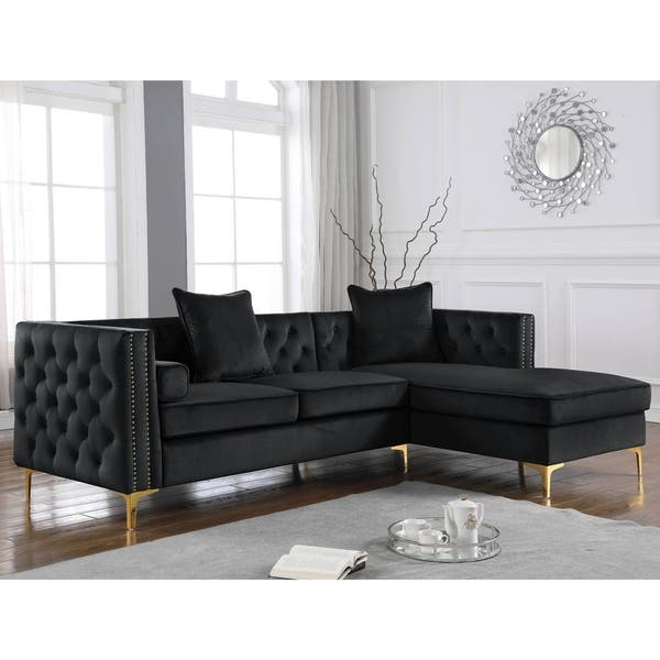 Shop Best Quality Furniture Velvet Tufted Faux Crystal Sectional .