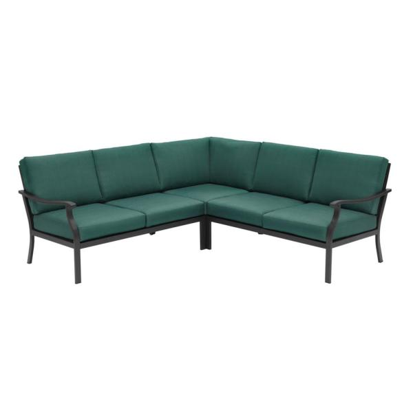 Hampton Bay Riley 3-Piece Black Steel Outdoor Patio Sectional Sofa .