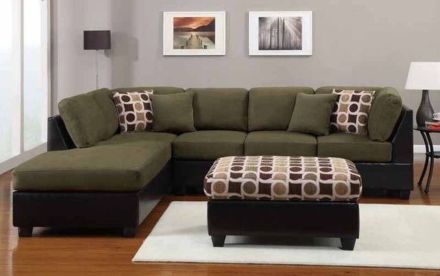 Green Sectional Sofa with Chaise   Luxury living room decor .