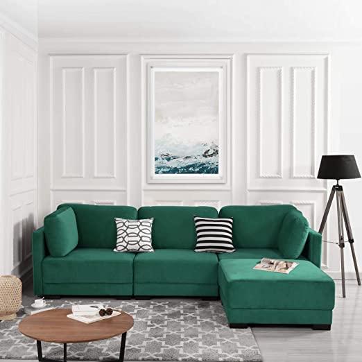 Amazon.com: Casa AndreaMilano Green Modular Sectional Convertible .