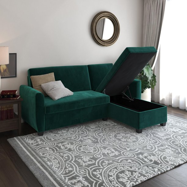 DHP Noah Sectional Sofa Bed with Storage, Twin Bed Frame, Green .