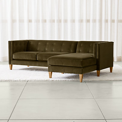 Aidan Green Sectional Sofa with Chaise + Reviews | Crate and Barr