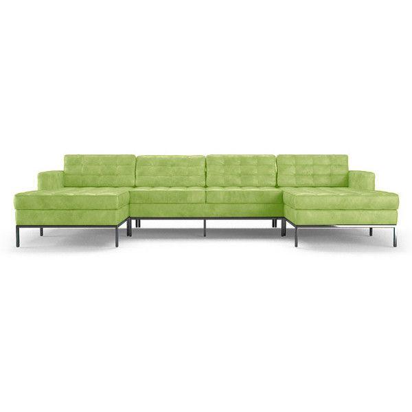 Joybird Furniture Franklin Mid Century Modern Green Leather U .