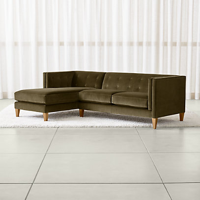 Aidan Velvet Olive Green Sectional Sofa + Reviews | Crate and Barr