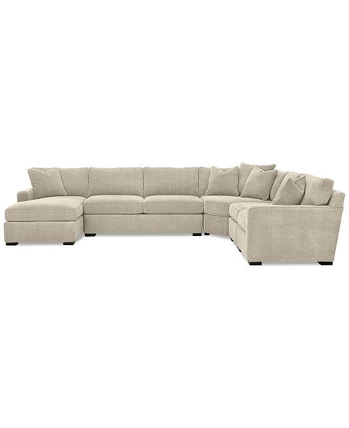 Furniture Radley 5-Piece Fabric Chaise Sectional Sofa, Created for .