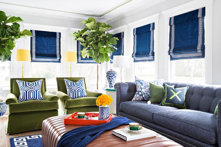 Blue and Green Living Room with Chesterfield Sofa - Contemporary .