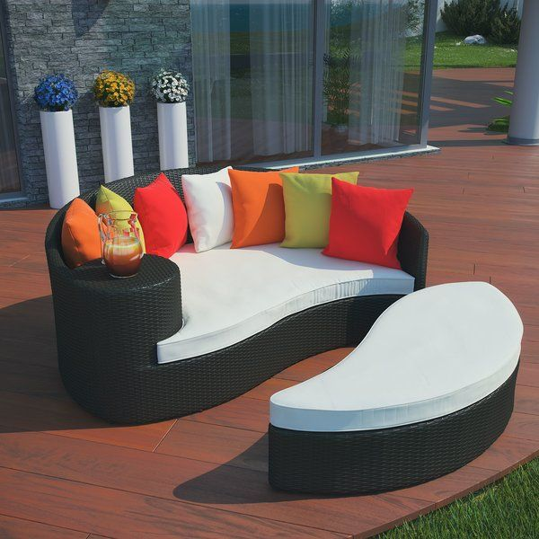 Greening Outdoor Daybed with Ottoman & Cushions | Discount outdoor .