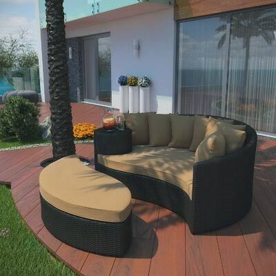Greening Outdoor Daybed with Ottoman & Cushions Brayden Studio .