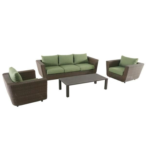 Royal Garden Greta 4-Piece Wicker Patio Conversation Set with .