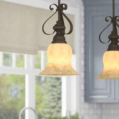 Grullon Scroll 1 Light Single Bell Pendants