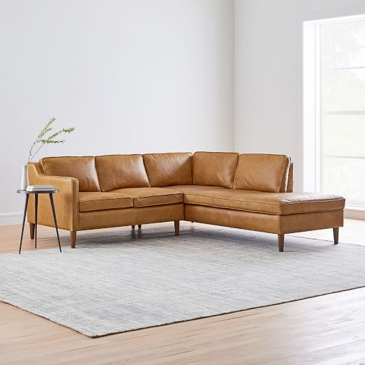 Hamilton Leather 2-Piece Chaise Sectional in 2020 | Sectional sofa .