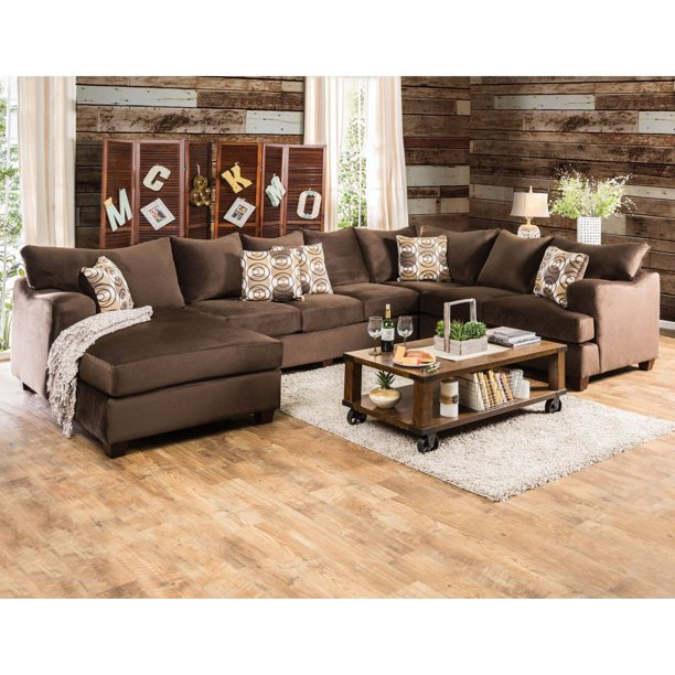 Furniture of America Hamilton Sectional Sofa with Chaise - Walmart .