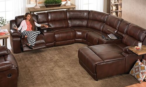 This over stuffed sectional sofa features built-in storage .