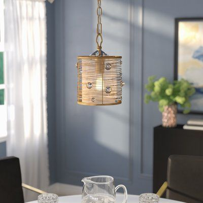 Willa Arlo Interiors Hermione 1 - Light Single Drum Pendant | Drum .