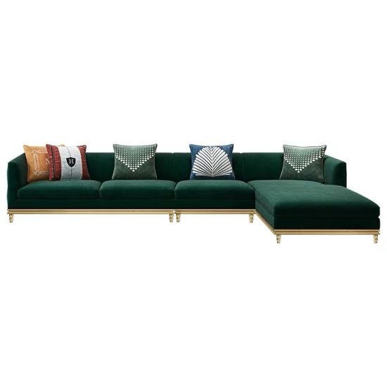 China Nordic Fabric Special Gold Lounge Sofa 1+2+3 Sectional Sofa .