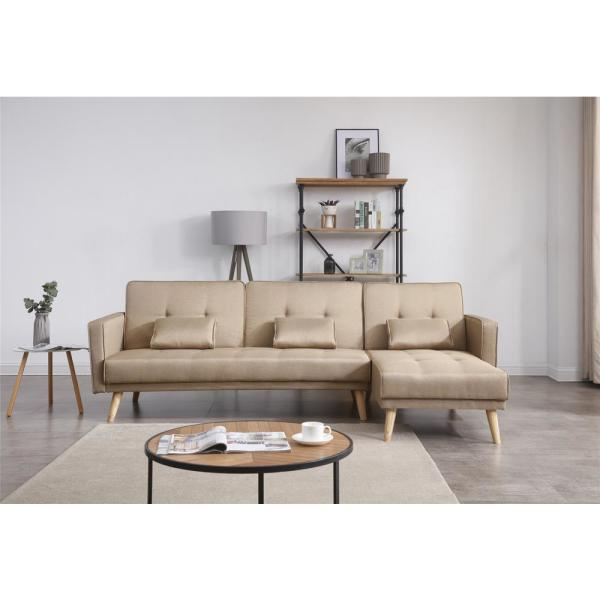 Unbranded 98.5 in. Brown Linen 3-Seater Twin Sleeper Sectional .