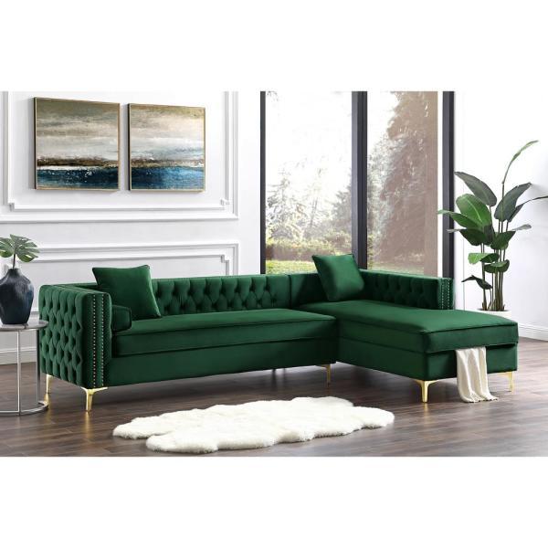 Inspired Home Olivia Hunter Green/Silver/Gold Velvet 4-Seater L .