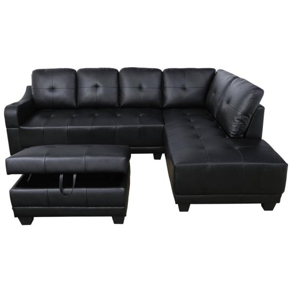 Star Home Living Mike 3-Piece Black Faux Leather 3-Seater L-Shaped .
