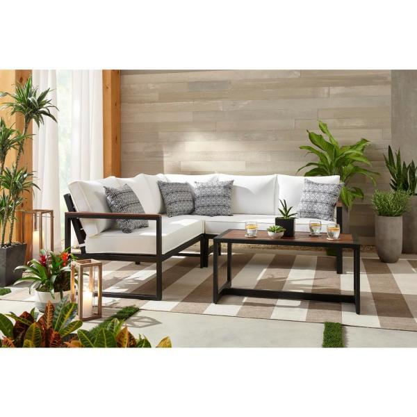 Hampton Bay West Park Black Aluminum Outdoor Patio Sectional Sofa .