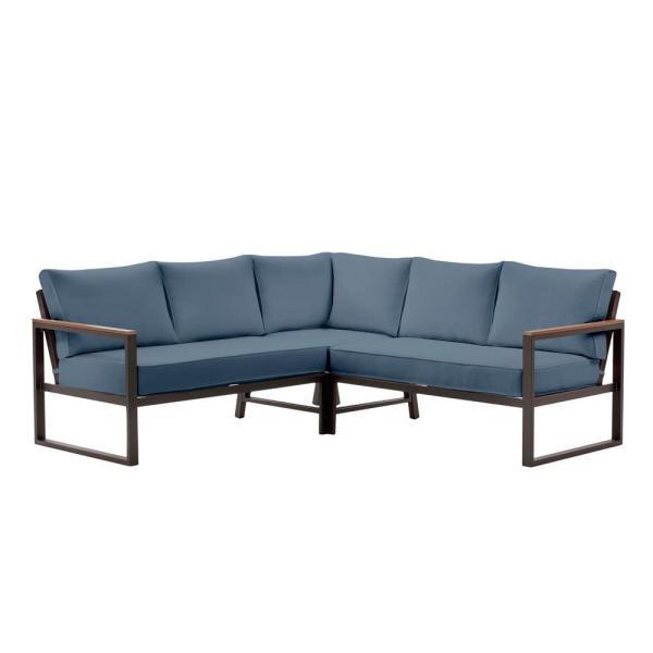 Hampton Bay West Park Aluminum Outdoor Patio Sectional Sofa .