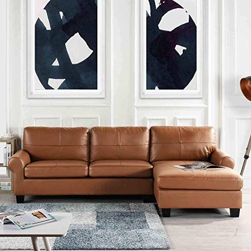 Best Seller Brown Leather Sectional Sofa Couch Chaise, Modern .