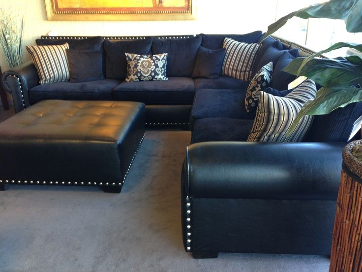 Navy Blue Leather Sectional Sofa | Home Furniture Design | Leather .