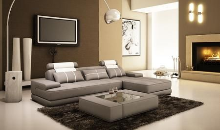 VGEV5005A Divani Casa 5005A Mini Modern Grey and White Bonded .