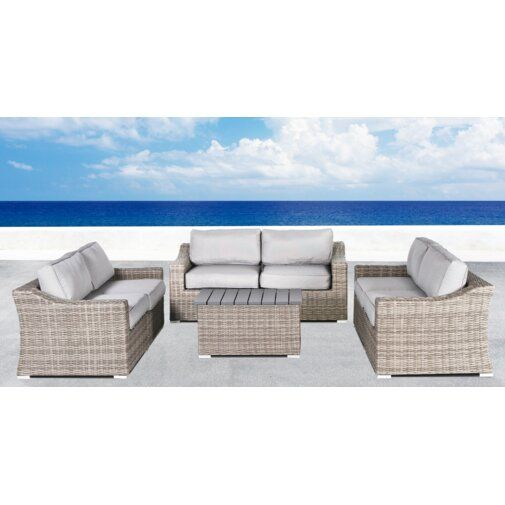 Rosecliff Heights Huddleson 7 Piece Rattan Sofa Set with Cushions .