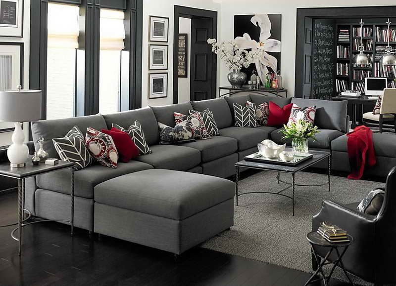 Large U shaped sectional sofa with gray accents #interior #design .