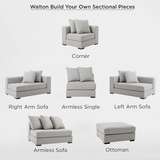 Build Your Own - Walton Sectional Pieces in 2020 | Sectional sofas .
