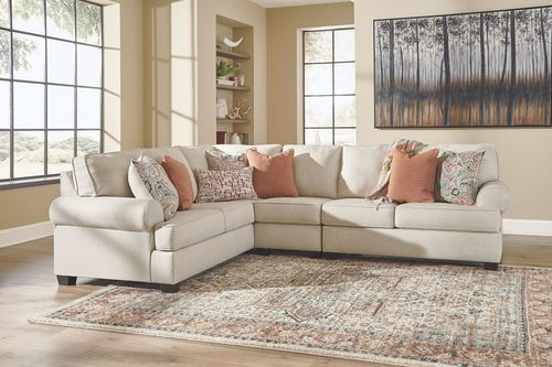 The Amici Linen LAF Sofa with Corner Wedge, Armless Chair & RAF .
